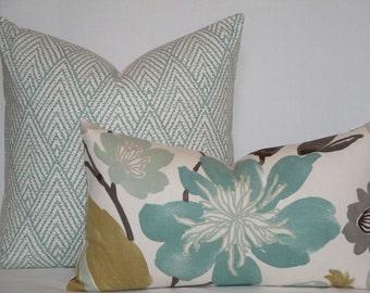 Decorative Pillow Cover - 14 x 24 - Aqua Teal Floral - Tan - Grey - Accent Pillow - Throw Pillow - Cushion Cover