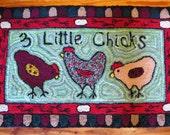 3 Little Chicks Hooked Rug
