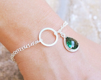 Emerald Green Bracelet - Green Bridesmaid Bracelet - Sterling Silver Infinity Bracelet - Green Glass Bracelet - Emerald Bridesmaid Jewelry