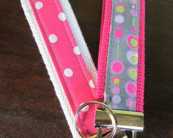 Key fob keychain- Pinks and Greys