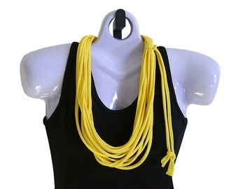 FABRIC NECKLACE, Bright Yellow, Tshirt Scarf, Recycled fabric. Ready to Ship