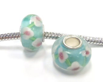3 Beads - Flower Blue White Lampwork Glass Silver European Bead Charm E0993