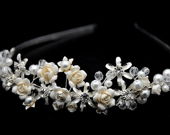 Vintage Inspired, Bridal Headband,  Crystal Wedding Headband, Wedding Bridal Hair Accessories