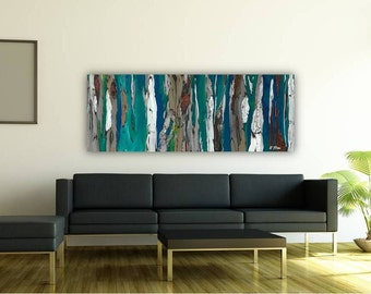 ON SALE Extra large wall art 30x80 artwork huge blue long giclee print abstract trees canvas landscape living room wall decor bedroom dining