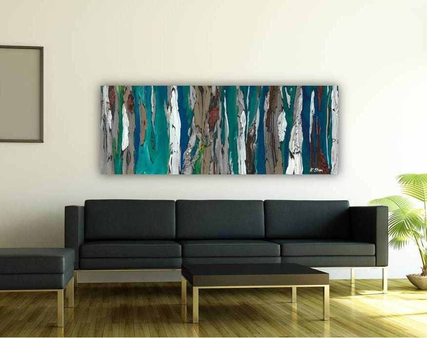 On Sale Extra Large Wall Art 30x80 Artwork Huge Blue Long