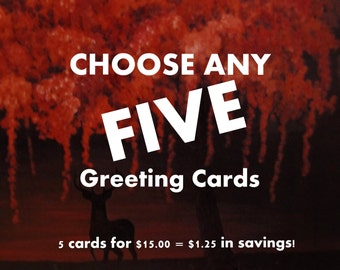 Weeping Tree Choose FIVE FIne Art Any Occasion blank Greeting Cards 5x7 with envelopes