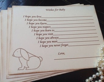 Wishes for baby-Bunny rabbit theme-wish cards-gender neutral baby shower games- fill in the blank game-set of 12