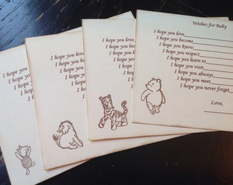 Classic Pooh wish cards- Winnie the Pooh, Tigger, Tigger, Piglet- baby shower games- Pooh theme-fill in the blank game-set of 12