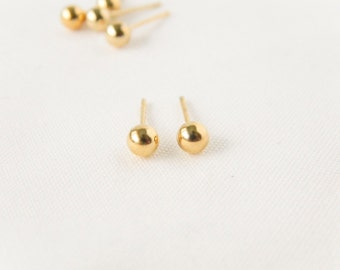 Gold Ball Studs // Gold Earrings, Bridesmaid Earrings, Everyday Studs, Ball Earrings, Dainty Studs, Tiny Earrings, Winter Wedding Gift, Gold