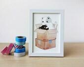 Art Print - Gotcha! - 5x7in Cute Cat Illustration