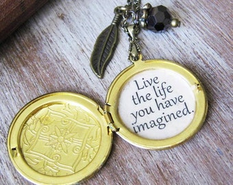 inspirational necklace Locket quote thoreau live the life you have imagined  pendant jewelry for women with inspiring message