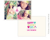 INSTANT DOWNLOAD  - Valentine Photoshop Template - Hearts- E287
