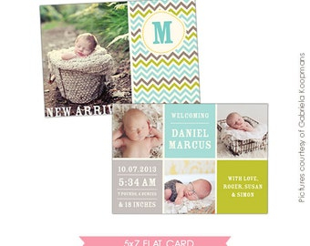 INSTANT DOWNLOAD  - Birth announcement template- E478