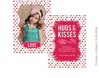 INSTANT DOWNLOAD  -  Valentine Card Photoshop Template - Pink hugs- E264