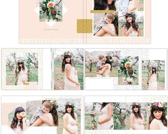 INSTANT DOWNLOAD - 12x12  Album template - Romantic garden - e1096