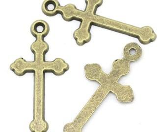 8 - Cross Charms Antique bronze Tone Metal - 29 x 14 mm   bz269