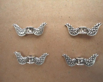 10 Angel Wing Spacer Beads, Tibetan Antique Silver Tone 18 x 7 mm - sp029