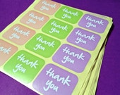 SALE- Colorful Thank You stickers. 160 Adhesive labels for weddings/parties or merchandise.  Peach, Green, Purple