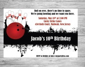 Bowling Birthday Invitation, Featuring bowling ball and pins. Perfect for Any Age. Matching Thank You Cards Available