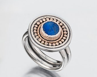 Lapis Silver and Gold Ring, Lapis Lazuli Silver Ring, Blue Stone Sterling Silver Lapis Ring,