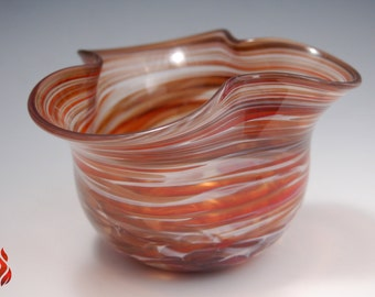 Wavy Bowl, Blown Glass Bowl, Centerpiece, Glass Art, Glass Centerpiece, Bowl, Swirl