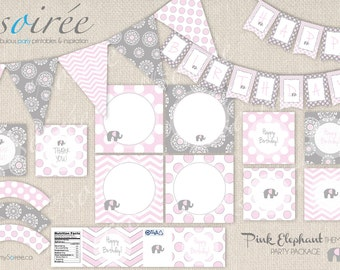 PINK ELEPHANT Theme PRINTABLE Party Package