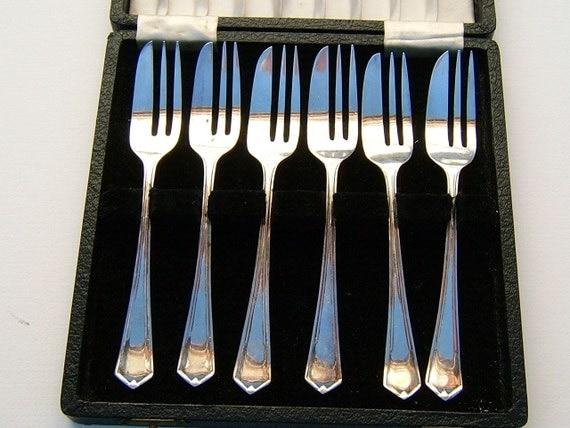 1950 British Reg EPNS Silver Plate Dessert Forks Original Box Vintage Serving Vintage Flatware Vintage Kitchen Vintage Table