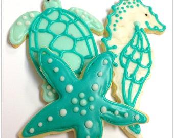 Sea Turtle Sugar Cookies Starfish Seahorse Decorated Cookie Nautical Favors