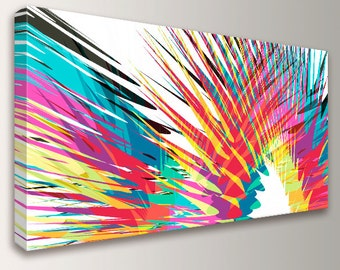 Modern Abstract Art   Colorful Canvas Print   Panoramic Size   Loft Art   Oversized  Wall