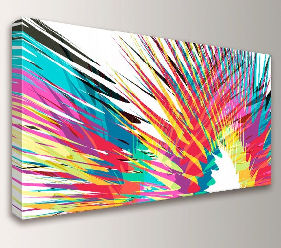 "Modern Abstract Art - Colorful Canvas Print - Panoramic size - Loft Art - Oversized Wall Art - Modern Wall Decor  - ""Kapoooow"""