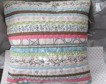 Fancy Stitched Quilted Stripe Pattern Pillow with Hearts and Motifs