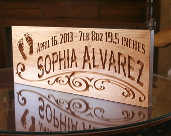 Rustic Baby Sign, Baby Name Sign Ideas, Baby Birth Sign, Custom Wooden Baby Sign, Benchmark Custom Signs Cherry FP