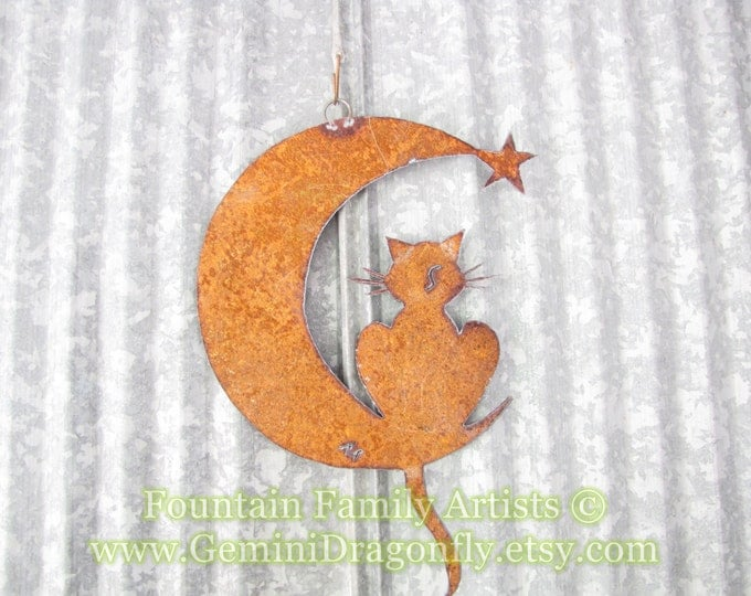 Rusty Cat on Crescent Moon Recycled Metal Garden Art