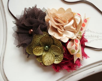 HELLO FALL- Brown, Dark Red, Tan and Olive headband, fall headbands, brown headbands, tan headbands, newborn headbands, photography prop