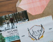 Rustic Tribal Save The Date: Water Color and Woodland Forest and Antlers