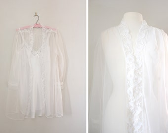Vintage Lingerie Bridal Wedding Peignoir Set - Negligee Dress Slip with Lace Bed Jacket 60s Style Baby Doll - Size Small