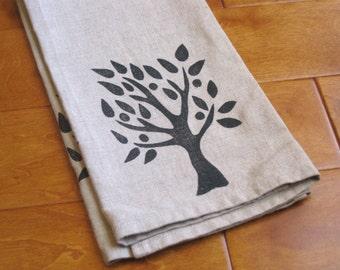Hand printed linen tea towel, linocut tree, kitchen/bathroom (made to order)