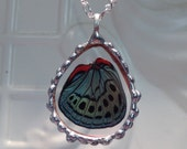 Real Butterfly Wing between glass Hand Soldered Pendant Christmas Birthday Gift Statement Necklace 24 inch chain