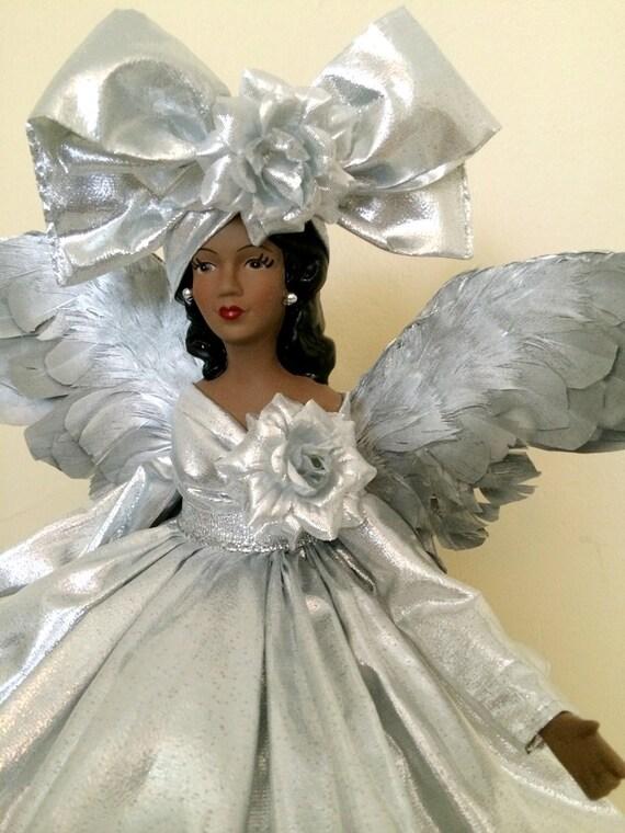 Silver Christmas Angel Tree Topper African American Ooak Black
