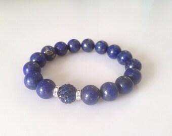 Lapis gemstone bead Swarovski pave bead stackable bracelet