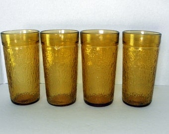 s/ 4 Amber Glass Textured Tall Tumblers Drinking Bar Glasses