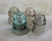 Set of Four Antique Glass Insulators- 1800's Electrical Wire Insulators- Pale Aqua and Clear Glass-- Many repurposes