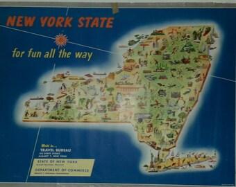 Original vintage travel poster map of New York State