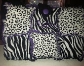 Cassidy Burke's custom  ZEBRA / LEOPARD  Rag quilt Purse with purple lining
