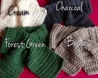 Crochet Keyhole Neckwarmers, Pull through Scarf, Bow Scarf Crochet Scarflette, Ladies Retro Style Collar, Teens, (Grey Cream Beige or Green)