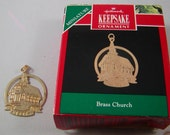 Miniature Hallmark Keepsake Ornament 1991 Brass Church Christmas Ornament with Original Box