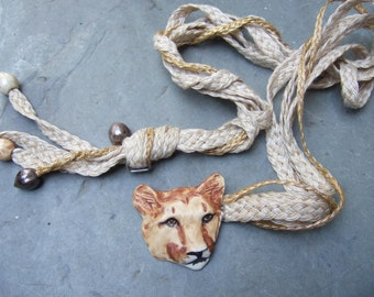 Unique Handmade Porcelain Tiger Head Buckle Rope Belt c 1970