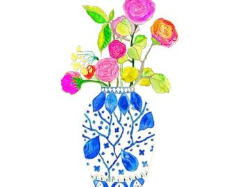 Ginger Jar Watercolor Art Print. Ginger Jar with Flowers.