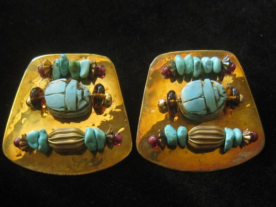 Vtg Egyptian Style a la 1980s.  Large Brass Artisan made Clip On Earrings with Turquoise Scarabs and More.