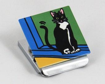 Tuxedo Cat/Black and White Cat/Cat/Kitten Metal Clip Magnet